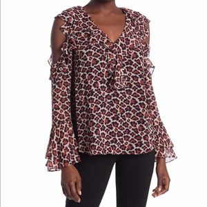 NEW DVF Giraffe Print Cold Shoulder Blouse